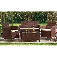 Evre Home & Living Rattan Garden Furniture Set Patio Conservatory Indoor Outdoor 4 piece set table chair sofa (Brown)