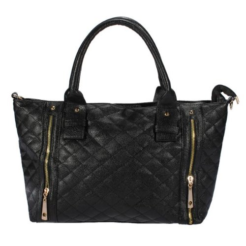 Donna Women Balck PU Leather Quilted Shoulder Tote Bag Borsa