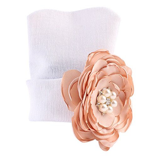 Amorar Mütze Hut Cotton Knitted Hat Cap mit Blumen Perle für Neugeborene Baby Mädchen Infant Toddler,EINWEG Verpackung (Blume Perle Caps)