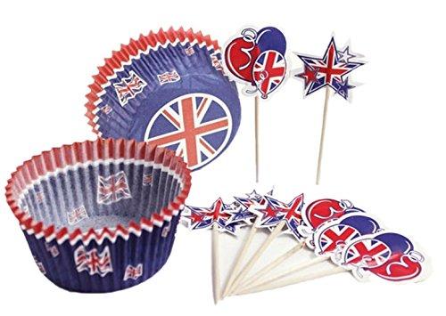 erdbeer-party - Party Dekoration Cupcake Deko Set - Union Jack - 48 Stück, (Halloween Picks Cupcake Uk)
