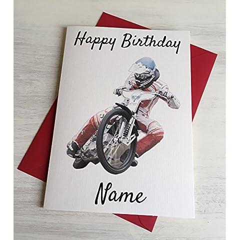 Speedway Racer Personalizzato Premium Avorio compleanno scheda