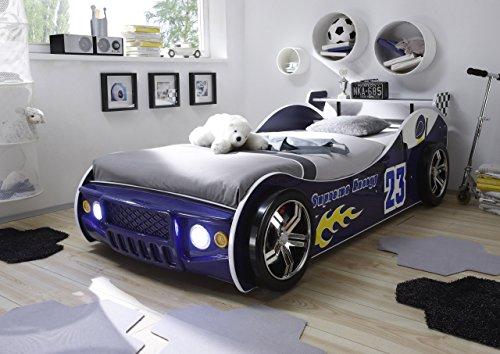 *Autobett inkl Beleuchtung blau 90*200 cm Kinderbett Autorennbett Rennautobett Jugendbett Jugendliege Bettliege Einzelbett Kinderzimmer*