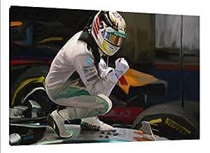 Lewis Hamilton 76,2x 50,8cm Peinture sur toile–Mercedes F1IMAGE encadrée Poster