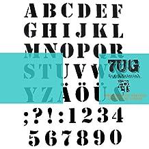 'Designer Stencil, motivo ABC, Alfabeto, caract?Res e cifre per Mixed Media artisti