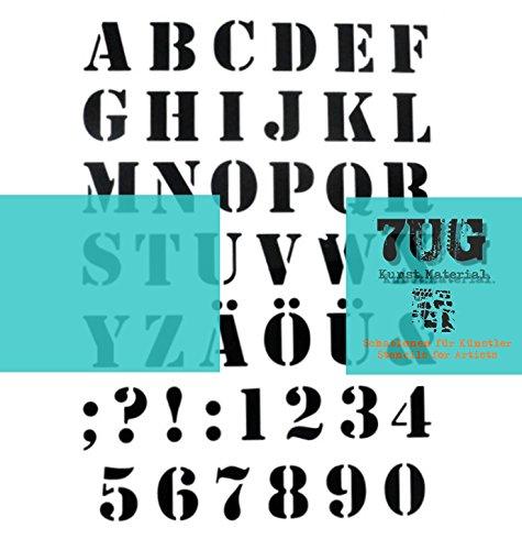 7UG Designer Schablone Motiv ABC, Alphabet, Zeichen und Zahlen, Din A4 - für Mixed Media Künstler