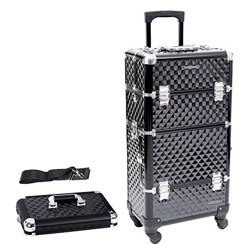 Songmics® Trolley make up Kosmetikkoffer Nail Art Koffer Box Schmuckständer Nagellack Gegenstände JHZ04B 4 Fach-werkzeug-kasten