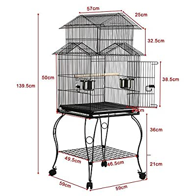 Yaheetech Triple Roof Top Large Metal Rolling Bird Cage Parrot Cockatiel Parakeet Green Cheek Conure Caique Aviary Canary Pet Perch with Detachable Stand 59.5 x 59.5 x 140 cm (LxWxH) by Yaheetech