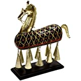 SAARTHI Antique Metal & Wooden Hanging Bell Horse with Embossed Work- Handicraft Showpiece Figurine for Table Decor, Home Decor, Room Decor and Gifts