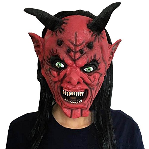 Latex Kuh Teufel Kopfbedeckung Halloween Horror Tricks Masquerade Schwarzes Haar Pullover Horror Party Boo Banner Ghost,A (Kuh-make-up Für Halloween)