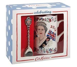 "Cath Kidston Ensemble mug + cuillère ""The Queen's Diamond Jubilee"" Porcelaine"