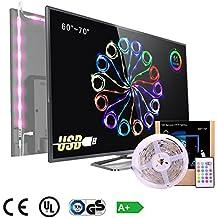 "Tira LED Iluminación TV PC 60""-70"" Luz ,4-Pack Flexible USB SMD 5050 RGB Impermeable Tira de Led Kit Con mando 16 colores DC 12v ,Pangton villa LED Strip tira llevada Multicolor Kit"