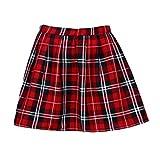 Lenfesh Mujer Escocesa Mini Faldas Kilt Escocesa Plisada de Uniforme Escuela Tartán - Rojo (M,...