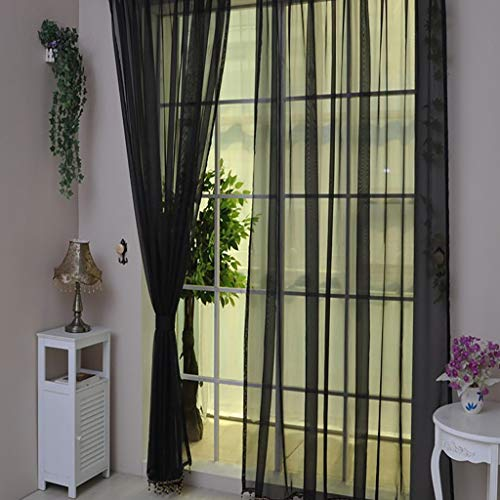 Vorhang Transparente Voile Gardine Türvorhang Plaid Tüll Einfarbig Ösen Einfarbig 200x100cm(H x B) (1 Stück) Yonlanclot