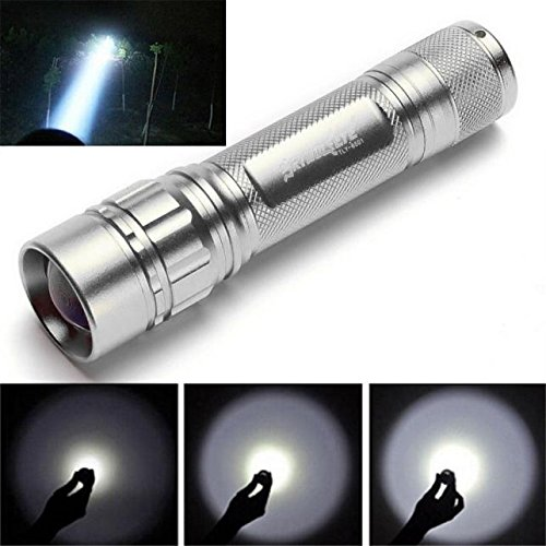 Xmansky Zoomable 3000 Lumen 3 Modi CREE XML XPE LED Fokus 18650 Gold Lampe Taschenlampe Batterie, Tactical Pocket Light