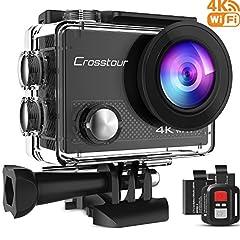 Idea Regalo - Crosstour 4K 16MP Action Cam WIFI Subacquea Ultra HD Sport Action Camera 170° Grandangolare due 1050mAh Batterie Custodia Impermeabile e Kit di Accessori