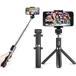 zeadio 3-in-1 multifunzione mini integrato treppiede pieghevole, tascabile, selfie stick con telecomando bluetooth per selfie stick allungabile e rotazione di 360 gradi smartphone Holder