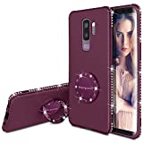 Henpone Funda Samsung Galaxy S9 Plus,Glitter Bling Brillante con Dedo Anillo Soporte Mujer Niña Púrpura Suave Lujosa Diamante Protectora Carcasa Samsung Galaxy S9 Plus -Violeta