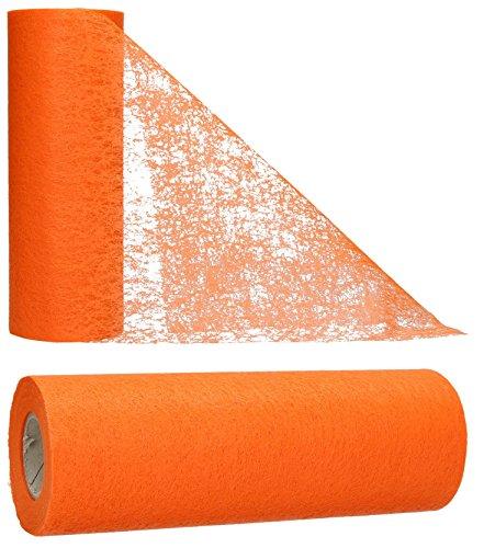 AmaCasa Vlies Tischband Tischläufer Flower Vlies Hochzeit Kommunion 23cm/25m Rolle (Orange, Vlies)