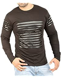 Perfect Creations Men's Cotton And Leather Full Sleeve Black Color Round Neck T-Shirt