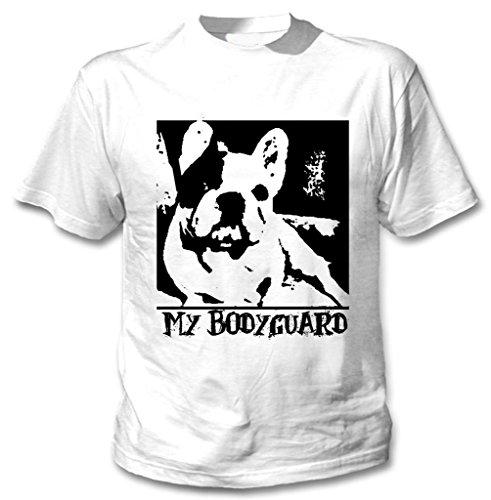 Teesquare1st Men's FRENCH BULLDOG MY BODYGUARD PB 23 White T-Shirt Size Large
