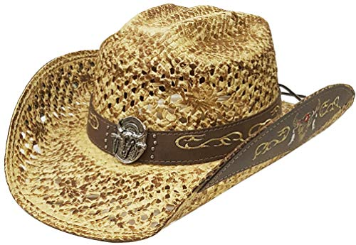 cb285ef0e5f4a Modestone Straw Chapeaux Cowboy Concho Embroidered Hatband Brim Appliques  Hatband