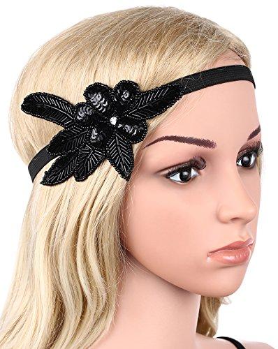 BABEYOND 1920s Stirnband Damen 20er Jahre Stil Haarband Gatsby Kostüm Accessoires (Schwarz) - 6