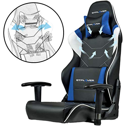 GTPLAYER Chaise Gaming de Bureau Fauteuil de Bureau Chaise Gamer Music avec Haut-Parleur Bluetooth, Design Ergonomique Bleu 7