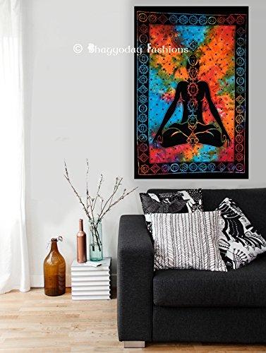 College-wohnheim-poster (Exklusive Yoga Sieben Chakra Tapisserie Poster, Größe 40x 30Indische Baumwolle NEU Design Jaga Badteppich Tie Dye Poster, Picknick Strand Decor Wohnheim von bhagyoday Fashions)