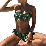 Damen Bademode❤️❤️Vovotrade Dot Printed Retro Schulterfrei Bow-Knot Bandage Sexy Bikini Set Bademode Brasilianische Sommerferien Baden Push-Up gepolsterter BH + Shorts Badeanzug Beachwear (Grün, L)