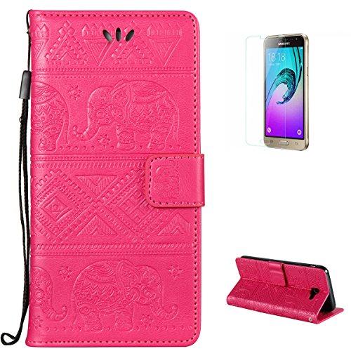 KaseHom Case for(Samsung Galaxy J3 Prime) Brieftasche Fall [Frei Schirm Schutz], Elefant geprägt Entwurf Flip Magnetisch Standfunktion mit Kartensteckplätzen Premium Leder Stoßfestes Rose Rot
