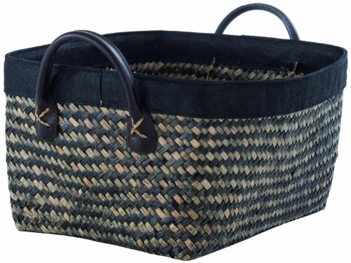 Rangement & cie ran6539 - cestino padang in giunco intrecciato, misura grande, marrone/nero