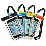 [Certifiée IPX8] Pochette étanche, [4 pièces] iVoler Pochette Sac étanche Universel Waterproof Case Bag Housse Coque Etui pour Apple iPhone X, 8, 8 Plus, 7, 7 Plus,6s / 6, 6s Plus / 6 Plus, SE 5S 5C, Samsung Galaxy S9/S9 Plus/S8/S8+/S7/S7 Edge/S6, Huawei P10/P10 Lite/P9/P9 Lite,ASUS, LG,Motorola et les Autres Smartphones de Taille Égale et Inférieure à 6'' ou les Monnaies , le Passeport etc, idéal pour natation, la plage, pêche, la randonnée, Garantie de 24 MOIS (Nior+Bleu+Vert+Orange)