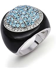Bling Jewelry Esmalte Negro Color Topacio Azul Redonda Anillo CZ Cóctel