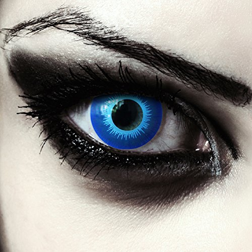 Eis-blaue farbige Elfen Kontaktlinsen für Halloween Karneval Weißer Wanderer Kostüm, 2 Stück, Designlenses, Model: Blue ()
