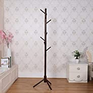 Coat Rack Free Standing with 8 Hooks Wooden Coat Rack Stand and Hat Rack Organizer for Hanging Clothes Jackets