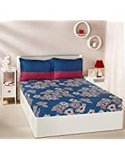 Solimo Floral Flakes 144 TC 100% Cotton Double Bedsheet with 2 Pillow Covers, Blue