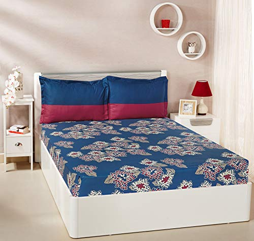 Amazon Brand - Solimo Floral Flakes 144 TC 100!% Cotton Double Bedsheet with 2 Pillow Covers, Blue