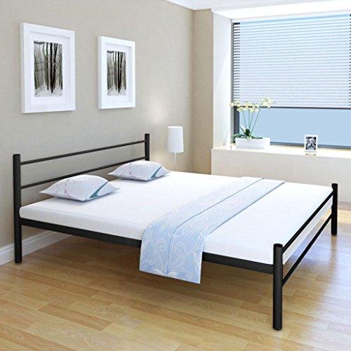 Festnight Doppelbett Metallbett Gästebett Bett aus Metall mit Matratze Schwarz 180x200 cm