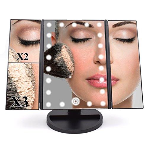 Dolovemk Miroir de maquillage éclairé à LED - Grossissements x1/x2/x3 - Capteur tactile pour allumer/éteindre la lumière - 2 types d'alimentation : pile AAA et micro USB - Angle réglable - Triple inclinaisons avec support basculant - Dimensions du miroir (ouvert) : 45,7 x 22,9 cm