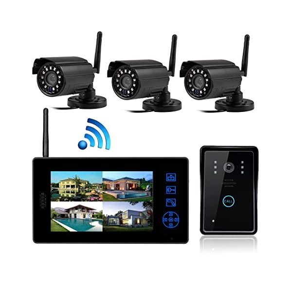SYSD 818MJWD3 7 inch LCD Color HD Indoor Doordell with 3 Surveillance Camera SYSD 2.4 G transmission frequency, barrier-free communication distance of about 150 m; USES the digital processing technology, automatic wireless transceiver functions, good performance, high reliability; indoor machine use TFT true color display 7 inch digital; 2