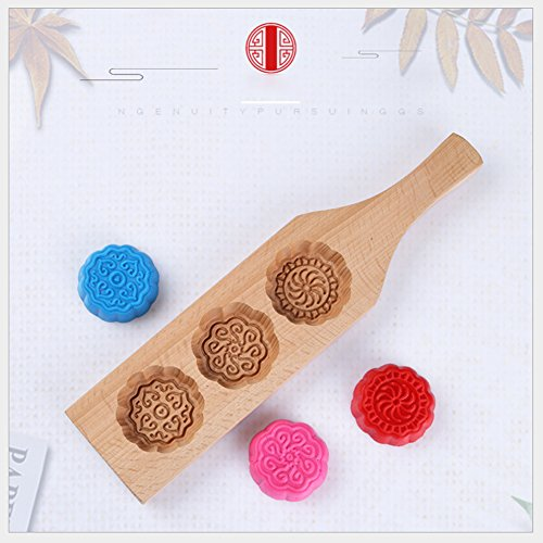 Johlycao Premium Wooden MoonCake Mould, Traditionelle Weinlese-Blumen-Form Mini Kuchen Schimmel Nonstick Schokoladenform Kuchen Backen Dekoration Cutter Mold für Kuchen, Cookie