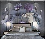 Apoart papier peint Lotus bleu style art bleu clair canapé salon TV fond peinture murale 200X140cm(78.74 * 55.11in)