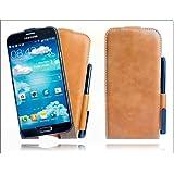 Perfect Case ® Stil Better PREMIUM QUALITÄT Echtleder Flip Case mit Stifthalterung und Gratis Stift für Samsung Galaxy S5 GT-i9600 - Braun /Pen