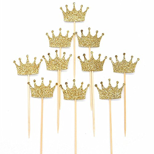 OULII 20pcs Glitter oro corona matrimonio fidanzamento in legno torta Topper foto puntelli favori