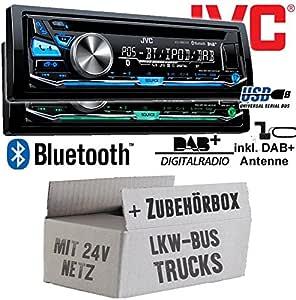 Lkw Bus Truck 24v 24 Volt Jvc Kd Db97bt Dab Digitalradio Bluetooth Usb Autoradio Inkl Dab Antenne Einbauset Navigation