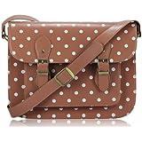 Ladies Womens Nude Spot Polka Dot Satchel Shoulder Bag Spotty Crossbody Handbag