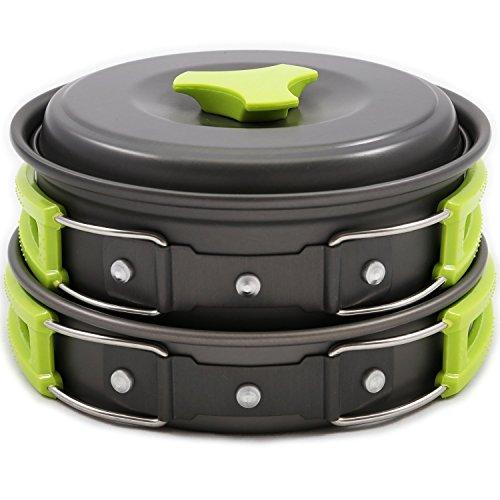 Preisvergleich Produktbild Camping Kochgeschirr / Kochgeschirr-Set 10 tlg Kochausrüstung für Outdoor Wandern Picknick / FDA GENEHMIGTE Topf & Pfanne aus Aluminium und Edelstahl / faltbare Löffel
