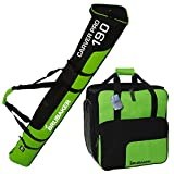 BRUBAKER Kombi Set Skisack und Skischuhtasche für 1 Paar Ski bis 190 cm + Stöcke + Schuhe + Helm Grün Schwarz