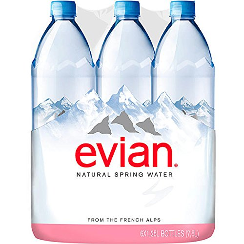 EVIAN Premium Natural Spring Water Natürliches Mineralwasser 6 x 1,25l (Wasser Evian)