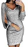 Pagacat Damen Cocktailkleid Glitzer Abendkleider Sexy V-Ausschnitt Kleid Kurze Elegante Glänzend Langarm Partykleider für Hochzeit Abend